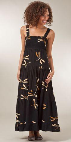 Bali Batiks Sleeveless Maxi Dress - Dragonfly Dreams