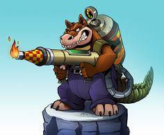 Dingodile (coloured by VeyZ Character Concept, Character Art, Concept Art, Game Crash Bandicoot, Crash Team Racing, Mundo Geek, Old Cartoons, Manga Anime, Cool Art