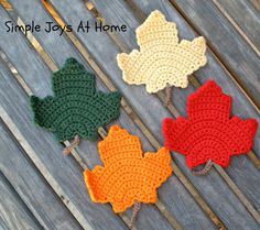Crocheted Fall Leaf Coasters Fall Coasters by SimpleJoysAtHome