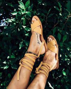 $70 Boho Chic Yellow Brown Leather Grecian Inspired Lace Up Summer Beach Sandals