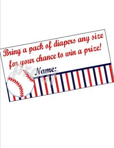 Instant Download - Baseball Baby Shower Diaper Raffle Tickets (Digital Printable File)