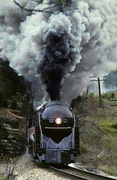 "doyoulikevintage: ""Nice shot of steam locomotive """