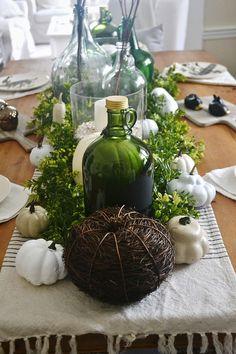 A neutral and green fall dining room - lizmarieblog.com Fall centerpiece.