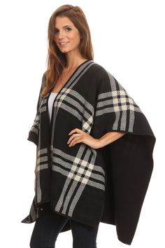 Cozy! Plaid Tartan Poncho for Women @ www.sunben.com #wholesale #fashionaccessories