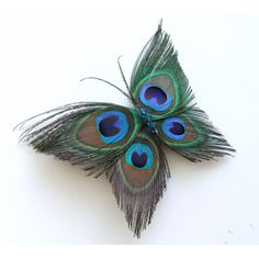 Butterfly Peacock Wedding Hair Clip Accessory, Peacock Feather... ($29) ❤ liked on Polyvore