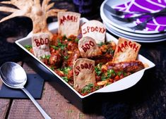 Get creative with tortillas to transform this scrummy sausage stew into a spooky graveyard that everyone will remember
