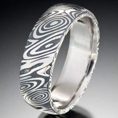 Naked Damascus Steel Wood Grain Pattern with Black Oxide, Rounded Top, Chris Ploof Designs Damascus Ring, Damascus Steel, Wedding Stuff, Wedding Bands, Images Of Colours, Jewellery Rings, Black Oxide, Wood Grain, Precious Metals