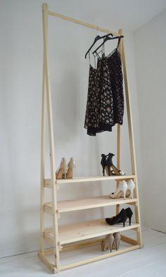 Handmade, Natural Wood, Clothes Rack, Clothes Rail with 3 Shelves Clothes Rail With Shelves, Diy Clothes Rack, Wood Clothing Rack, Wood Rack, Diy Wardrobe, Room Shelves, Natural Wood, Shelving, Diy Home Decor