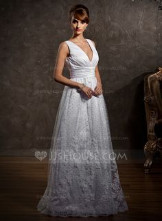 Wedding Dresses - $199.09 - A-Line/Princess V-neck Floor-Length Satin Tulle Wedding Dress With Lace (002012597) http://jjshouse.com/A-Line-Princess-V-Neck-Floor-Length-Satin-Tulle-Wedding-Dress-With-Lace-002012597-g12597?snsref=pt&utm_content=pt