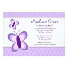 Purple Polka Dot Butterfly Birthday Invitations