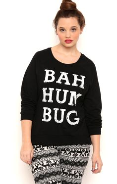 Deb Shops long sleeve french terry high low with bah hum bug screen $12.25