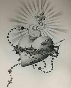 Custom pencil drawing by artist . Chicano Art Tattoos, Chicano Drawings, Body Art Tattoos, Tatoos, Tattoo Sketches, Tattoo Drawings, Pencil Drawings, Sagrado Corazon Tattoo, Religion Tattoos