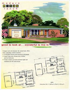 1950 Ranch Style House Plans - 16 1950 Ranch Style House Plans, 130 Vintage House Plans Used to Build Millions Of Mid Bungalow House Plans, Ranch House Plans, Bedroom House Plans, New House Plans, Modern House Plans, House Floor Plans, The Plan, How To Plan, Vintage House Plans