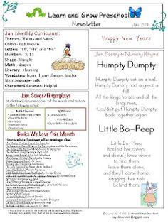 Learn and Grow Designs Website: February Preschool Newsletter ...