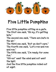 Five Little Pumpkins, this so much fun to sing with the kiddos on the bus!