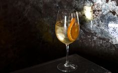 Pinkes Out recipe   Photo: Nicole Franzen   orange wine, Dolin Blanc (chamomile-infused), Cocchi Americano, verjus blanc, sparkling apple cider, half an orange wheel