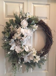 A snowy, elegant, frosted Winter Wonderland. Beautiful for Winter ❄️ This gorgeous wreath was just added to my Etsy shop. Homemade Christmas Wreaths, Christmas Bows, Holiday Wreaths, Winter Wreaths, White Christmas, Christmas Decorations, White Wreath, Diy Wreath, Grapevine Wreath