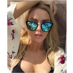 58f9f1ec479 Amazon.com  VIVIENFANG Women s Flash Mirror Lens Oversize Polarized Cateye  Sunglasses P1891+86447 2 pack  Clothing
