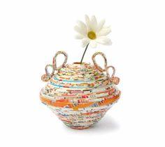 Colorful Amphora Paper Recycled Jar Vase by PensieriCreativi