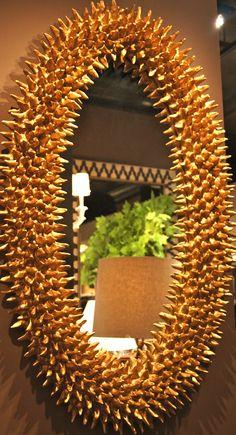 "Barry Dixon for Arteriors IHFC ""Spore Antiqued Gold Leaf Mirror."