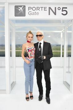 Lily-Rose Depp and Karl Lagerfeld at Chanel. [Photo Stephane Feugere]