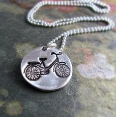 Silver Bike Necklace Silver Bicycle Necklace Outdoor Sportsman Silver Necklace Under 50 For Cyclist Fine Silver PMC Jewelry