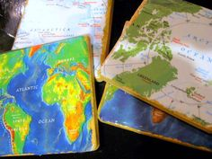 Map Coasters (ceramic tiles like these are usually about 15 cents) just possibility, probably go with diff map craft