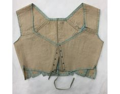 Stays or corset bodice made of linen trimmed with silk ribbon, England, ca. Vintage Corset, Silk Stockings, 19th Century Fashion, Empire, Historical Clothing, Fashion History, My Style, Silk Ribbon, Womens Fashion