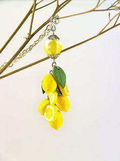 Lemon Pendant - Polymer clay jewelry - Gift for girlfriend - handmade jewelry - yellow citrus jewellery