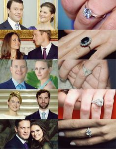 Victoria and Daniel of Sweden, William and Kate of England, Albert and Charlene of Monaco, Giullaume and Stephanie of Luxembourg, Madeleine and Chris of Sweden Princess Madeleine, Royal Princess, Crown Princess Victoria, Royal Engagement Rings, Celebrity Rings, Royal Rings, Royal Christmas, Bride Tiara, Black Fascinator