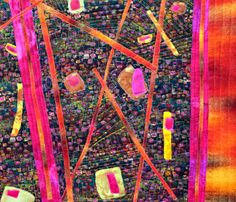 Abstract art quilt wall hanging,bold color has gold metallic highlights fuchsia,teal gold and pink,muy celente by BarbaraHarmsFiberArt on Etsy