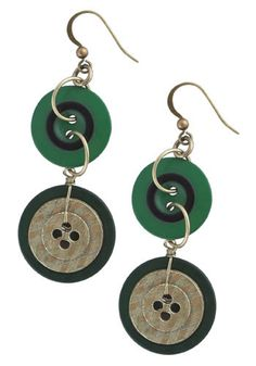 Green Button Earrings Mod Retro Indie Clothing Vintage Clothes - Stylehive