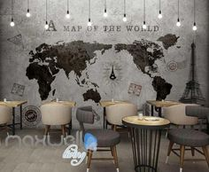World Map Black White Travel Design Art Wall Murals Wallpaper Decals Prints Decor IDCWP-JB-000192