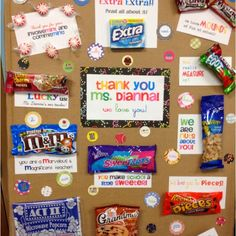 Teacher Appreciation Board - We love this fun idea but we would definitely add some gift cards too. Employee Appreciation Gifts, Volunteer Appreciation, Teacher Appreciation Week, Appreciation Images, Principal Appreciation, Teacher Treats, Teacher Gifts, Teacher Valentine, Valentines