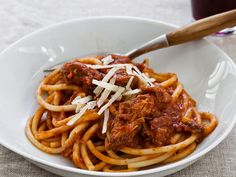 "Slow Cooker Sunday Sauce on Spaghetti | Have an Italian palate but don't exactly have the time on Sunday like an Italian grandma? ""Cheat"" with this recipeand your slow cooker. Italian-Am..."