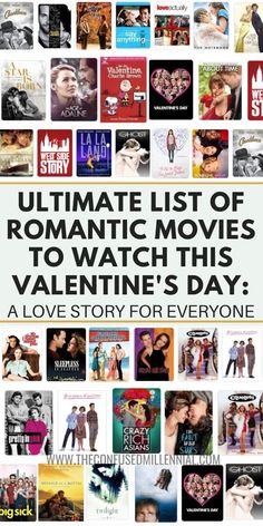 Need some ideas of what to watch on Valentine's Day? I've rounded up the ultimate list of Valentine's Day movies to enjoy this year! Whether you are in a relationship or single, there's a love… Movie To Watch List, Disney Movies To Watch, Good Movies To Watch, Movie List, Movies About Love, Good Romance Movies, Best Love Story Movies, Movies To Watch Teenagers, Best Movies List