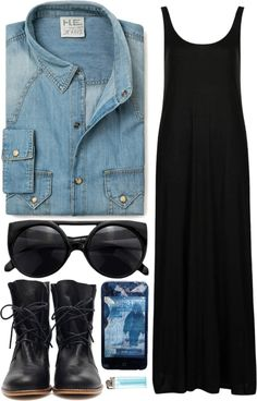 Minimal + Classic: denim shirt, black maxi with boots with laces