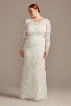 Intricately beaded scroll and honeycomb patterns embellish this sophisticated and stunning gown. The ornate swirls start at the long-sleeve illusion bodice and cascade down the mesh sheath silhouette. Second Wedding Dresses, Plus Size Wedding Gowns, Plus Size Gowns, Bridal Dresses, Wedding Dresses Second Marriage, Wedding Dresses Under 500, Bridal Gown Styles, Plus Size Brides, Long Sleeve Gown