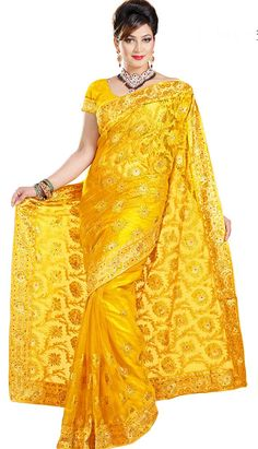 Get Beautiful Latest Yellow Nett #DesignerSaree Product code: KDS-39501 Price: INR 3300 (KDS-39501), Color: Yellow Shop Online now: http://www.efello.com.my/Saree_Beautiful-Latest-Yellow-Nett-Designer-Saree,-Sari_37861