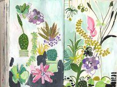 Succulents and Terrarium flowers - sketchbook - August Wren