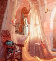 Rapunzel in blue Lisa Keene | Digital Rapunzel wearing a short-sleeved, light blue dress.