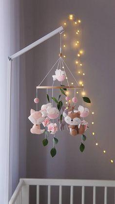 Boho baby girl mobile- Woodland nursery decor- pink baby mobile- baby shower gift- woodland mobile