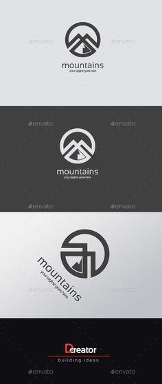 Mountain logo Template Transparent PNG, Vector EPS, AI Illustrator It's simple but packs a goos impact, the contrast and thickness can hold simplicity and abstraction together. Gfx Design, Graph Design, Logo Design Template, Logo Templates, Logo Branding, Typography Logo, Branding Design, Font Logo, Logo Ad