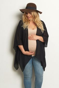A gorgeous plus size maternity cardigan to layer over your favorite basic pieces. A lightweight chiffon material allows you to wear it for every season, and an asymmetric hem adds feminine flair to any ensemble. Style over a maxi dress for formal events or with a basic top and jeans for casual wear.