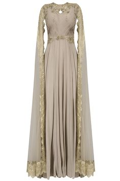 Reeti Arneja: Beige and gold floral embroidered cape anarkali suit available only at Pernia's Pop Up Shop. Anarkali Dress, Anarkali Suits, Muslim Fashion, Indian Fashion, Emo Fashion, Indian Gowns, Indian Outfits, Modest Dresses, Modest Outfits