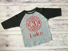 Fireman birthday shirt Firetruck birthday by PurpleElephantCo