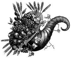 vintage clip art, cornucopia of flowers, cornucopia illustration, black and white clipart, horn of plenty picture