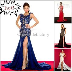 Wholesale Evening Dresses - Buy Sexy V-neck Pageant Prom Dress Red Black White Lace Cap Sleeves Formal Evening Party Dresses 61041R, $150.23 | DHgate