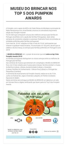 MUSEU DO BRINCAR NOS TOP 5 DOS PUMPKIN AWARDS