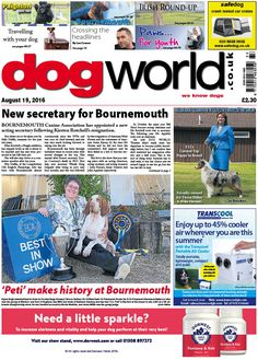 I like the use of colour and the font in the name of the magazine.  I am not a fan of the page design as this works for a newspaper, however, I feel this would not work for a magazine. This week's Dog World #newspaper #dogs #dogshows #dogshowing #news #August19 #2016